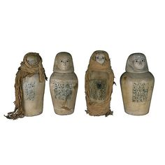 """Canopic jars of Maiherpri, an Egyptian noble of Nubian origin, """"Fan-bearer on the Right Side of the King"""", probably Thutmosis IV. From his tomb in the Valley of Kings, KV36."""