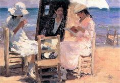 Cecilio Pla y Gallardo Spanish Painter Painting of the Beach of Valencia Seaside Art, Beach Art, Dappled Light, Beauty In Art, Impressionist Artists, Spanish Painters, Slice Of Life, Pictures Of People, Beach Scenes