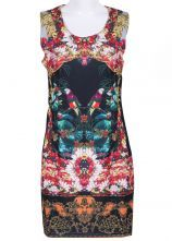Black Sleeveless Floral Birds Print Dress $25.90