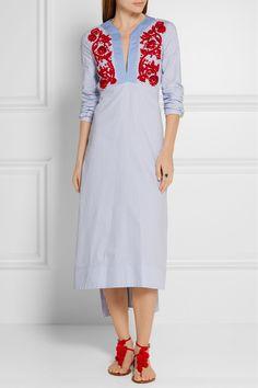 Tory Burch | Jade embroidered cotton Oxford midi dress | NET-A-PORTER.COM