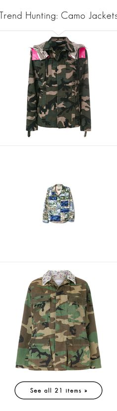 """Trend Hunting: Camo Jackets"" by polyvore-editorial ❤ liked on Polyvore featuring camojackets, men's fashion, men's clothing, men's outerwear, men's jackets, green, mens collared jacket, mens camo jacket, mens cargo jacket and mens camouflage jacket"