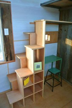 Tiny house stairs. So much better than the thought of a ladder, and they're multi-functional.