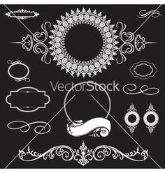 Wedding invite design elements on VectorStock®