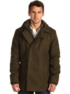 I like the layered collar and wrists.  http://www.zappos.com/ben-sherman-funnel-neck-melton-coat-green
