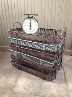 Vintage Industrial Wire Basket by GirlsGonePickin on Etsy
