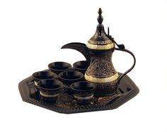 Home Decor Service Set Arabic Bedouin Coffee Set Black Gold Brass Tea Set Coffee Art, My Coffee, Coffee Shop, Coffee Service, Tea Service, Champurrado, Arabic Coffee, Tea Ceremony, Black Coffee