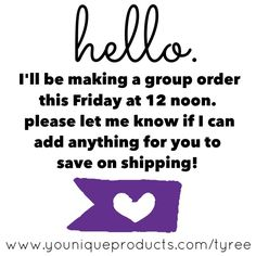 GROUP ORDERS!  ENDS @ 12 NOON ON 1•9•15. HURRY QUICK AND LET ME KNOW IF I CAN ADD ANYTHING FOR YOU AND YOUR FRIENDS!