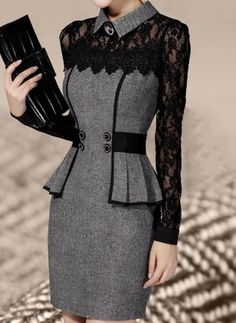 Vestidos Casual Dress 2016 Winter Dress Ol Elegant Classical Lace Long Sleeve Package Hip Dress New Arrive From China Work Dresses SellerPolyester Long Sleeve Above Knee Sexy Lace Ruffles Buttons Dressesnew office lady see-through black flower lace s Cute Dresses, Beautiful Dresses, Elegant Dresses, Sexy Dresses, Summer Dresses, Formal Dresses, Wedding Dresses, Evening Dresses, Awesome Dresses
