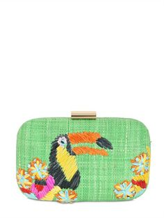 TOUCAN EMBROIDERED STRAW CLUTCH by Serpui Marie