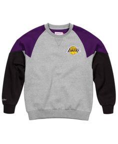 Mitchell  amp  Ness Men s Los Angeles Lakers Trading Block Crew Sweatshirt  - Gray XXL Sports 92b9f0f70