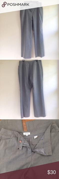 """⚡️Calvin Klein trouser Grey slacks for office wear or dressy event.  Laying flat: waist 19"""", rise 12"""", length 43"""".  Great condition. Clean. Make an offer or bundle and save. ⚡️SALE until March 20. Checkout my closet! [Tags: interview, career, boss, slacks, trouser] Calvin Klein Pants Trousers"""