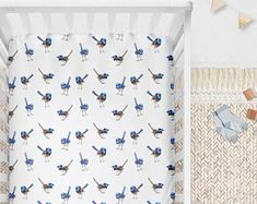 Australian Native Cot Sheets Blue Wrens on White, Fairy Wrens | Fitted Cot Sheet or Bassinet Sheet | Kona Cotton, Organic Cotton