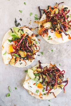 Shredded Harvest Hash Breakfast Tacos | Autumnal vegetables thinly shredded and roasted into a crispy harvest hash. Fill a tortilla with a fried egg and/or black beans for the best breakfast taco.