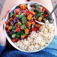 ha-ze: veggie stir fry + rice + tamari and sesame // instagram @chloessun