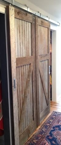 RLP Reclaimed Sliding Track Barn Doors with old tin