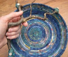 Coiled Fabric Basket  Blue Mist by lickcreekcollections on Etsy, $50.00 Rope Basket, Basket Weaving, Making Baskets, Rope Art, Fabric Bowls, Rope Crafts, Braids With Weave, Crochet Home, Fabric Basket