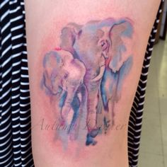 Watercolour elephant mother and child tattooed by Autumn Dancer