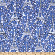 Amazon.com: Michael Miller Petite Paris Eiffel Tower Blue Fabric