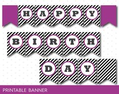 Raspberry purple printable banner with black stripes, full alphabet birthday…