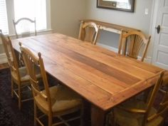 8' Harvest Farm Table Reclaimed 100 year old pine. LOVE LOVE LOVE. I want a table like this.......not the chairs tho.