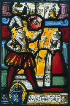 Kunstwerk: Glasmalerei ; Gebäudeteil ; Glasscheibe eines Fensters ; Böhmen(?) , Mähren(?)   Dokumentation: 1580 ; 1600 ; Sternberk ; Tschechien ; Schloss