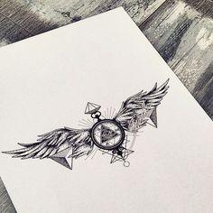 #geometric #geometrictattoo #dotwork #wings #clock #allseeingeye #abstracttattoo #bunette