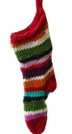 Quick Christmas stocking free knitting pattern by knitomatic. Nice in stripes.