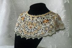 Statement Bib Beaded Antique Lace Embroidered by RoniStatement