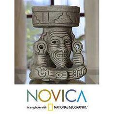 Ceramic 'Aztec Fire God' Sculpture (Mexico)