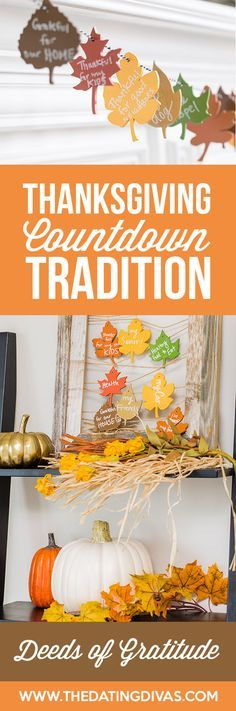 Thanksgiving Countdown Tradition - Deeds of Gratitude is a fun and meaningful Thanksgiving countdown tradition. A great way to focus on showing gratitude instead of just talking about it. #thanksgivingtradition #holidaycountdown