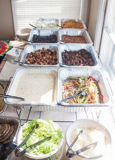 Burrito bar, taco bar, Mexican food party, cinco de mayo party, fiesta