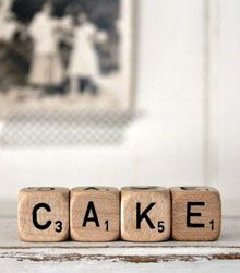 "Dés gourmand - lettres scrabble ""cake' #idéecadeau  #foodista"