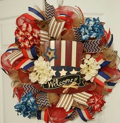 Rustic Patriotic wreath for Memorial Day, 4th of July.
