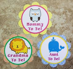 Owl lion or whale Theme Button Pin for Baby by lovetiesbymeggin, $21.00