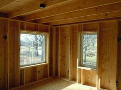 Thick walls that don't waste wood. The exterior row of studs supports the floor… Solar House Numbers, Patio Lanterns, Framing Construction, Timber Roof, Backyard Sheds, Passive House, House In The Woods, Frames On Wall, Architecture Details