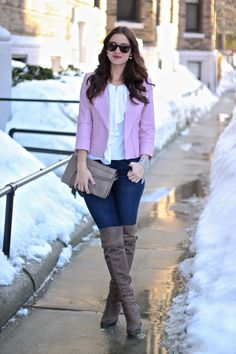 WHBM Light Pink Leather Jacket, White Ruffled Top and Taupe OTK Boots
