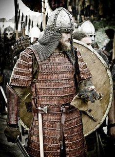 Viking warrior with leather lamellar armour