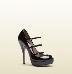 Gucci - scarpa con plateau tacco alto in vernice nera 309983BNC001000