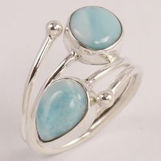 925 Sterling Silver Jewelry Stylish Ring Size US 6.5 Natural LARIMAR Gemstone #Unbranded