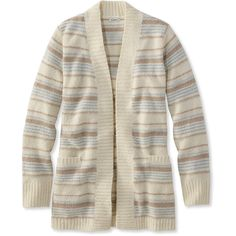 L.L.Bean Cozy Boucle Sweater, Open Cardigan Stripe  Misses Petite (€80) ❤ liked on Polyvore featuring tops, cardigans, petite cardigans, striped open front cardigan, fitted cardigan, l.l.bean cardigan and striped top