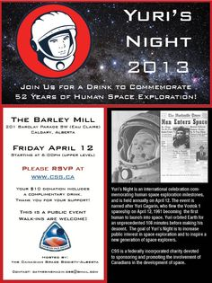 Celebrate 52 Years of Human Space Exploration with Yuri's Night 2013 at The Barley Mill, Eau Claire in Calgary