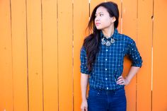 Take that old plaid shirt up a notch with this easy polka dot DIY.