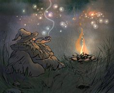 I really love Ulla Thynell's whimsical, and charming style - her view of MiddleEarth is endearing! § Gandalf (ANIMATION) by ullakko.deviantart.com on @deviantART