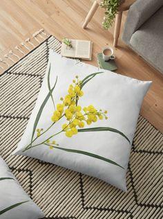 Australian Golden Wattle Flower Floor Pillow by houseofenigma Floor Pillows, Throw Pillows, Boho, Flower Designs, Diy, Duvet, Bedding, Projects To Try, Flooring