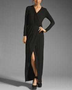 Michael Stars Black Joanie Maxi Surplice Long Dress S | eBay