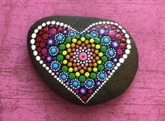 Hand Painted Mandala Heart Love River Stone