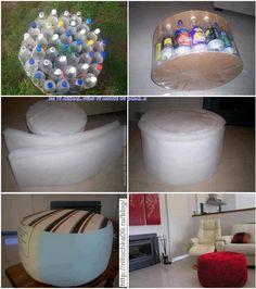 Empty Plastic Bottles Ottoman