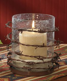 Barbed Wire Pillar Candleholder #zulily #zulilyfinds  This would be easy to craft!  But cheap enough to buy.