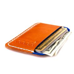 Leather card holder. Blue wool felt lining. Credit card. by JACCET, $34.50