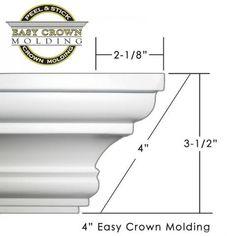 Easy Crown Molding D-I-Y peel & stick crown molding. Easy Crown Molding, Cornice Moulding, Floor Molding, Crown Moldings, Diy Crown, Bed Frame Plans, Plastic Moulding, Room Dimensions, Ceiling Design